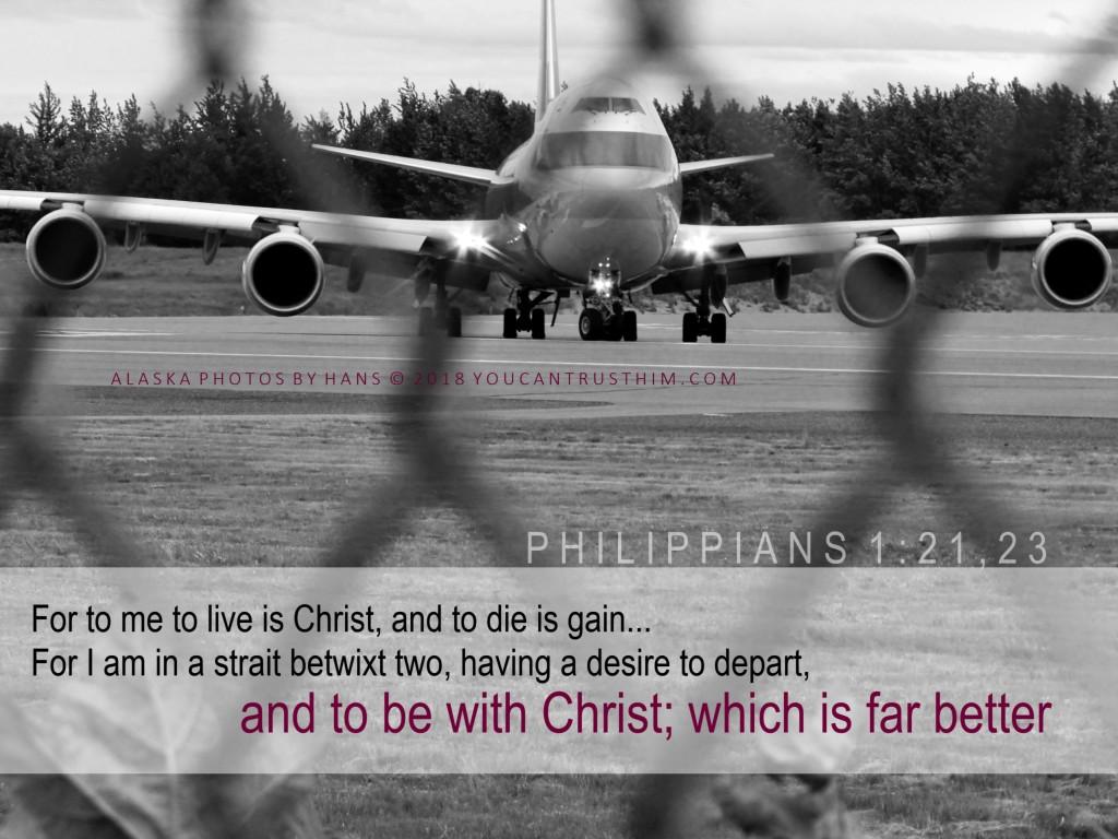 Philippians 1:21,23 Airplane on runway